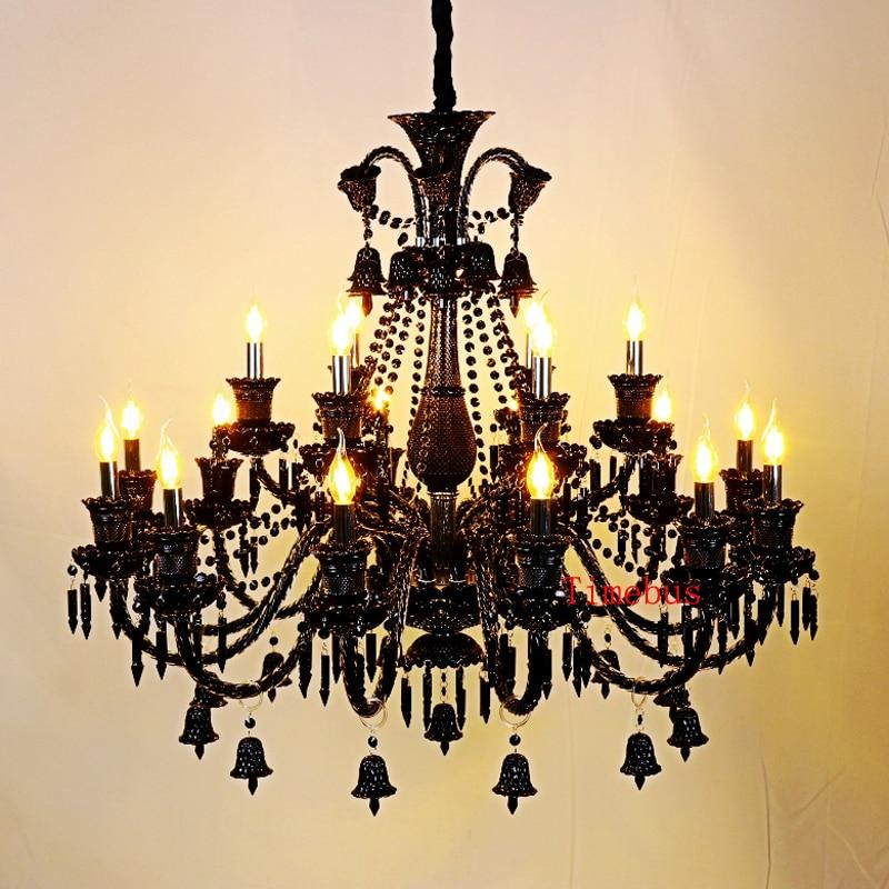 Lustre en cristal abat-jour noir bougie lustres chambre lustre noir moderne en verre soufflé lustre éclairage salon