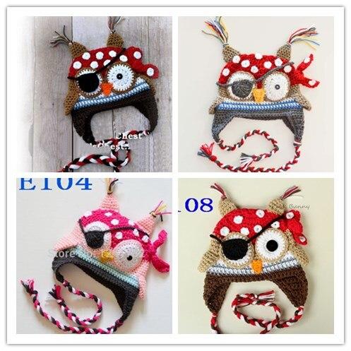 Free shipping,New Newborn Animal hat,children crochet Cartoon Pirates owls hat and eye patch .baby hat Beanie Photo props 100pcs