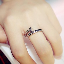New Fashion Vintage Nail Couple Rings Crystal Pave Adjustable Titanium   for Women Jewelry  birthday party gift