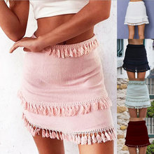 2018 Fashion Sexy Chic Pencil casual tassle Skirt Womens Streetwear A Line  High Waist bodycon bandage Package Hip Short Skirts 14efd0dccb70