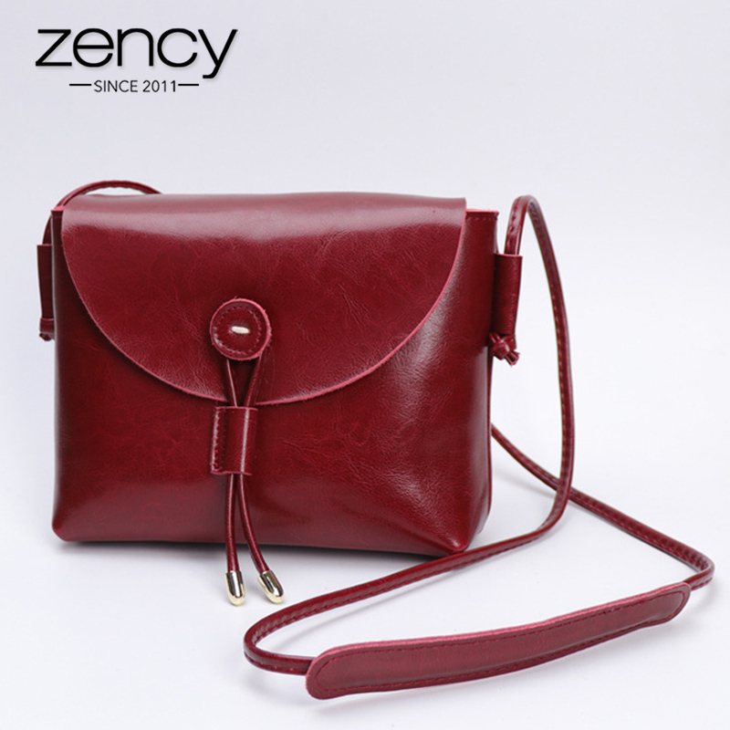 Zency Simple Style Women Messenger Bag 100% Genuine Leather Small Flap Fashion Lady Crossbody Shoulder Purse Brown Black Handbag
