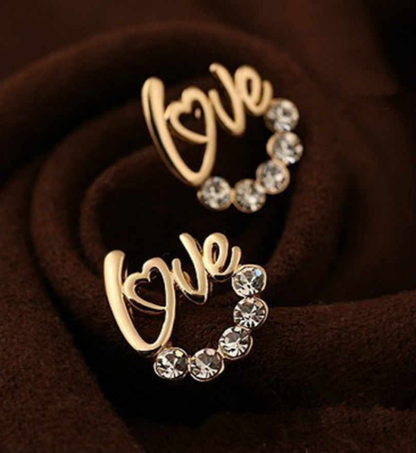 Korean Fashion Letters Gold And Silver-plated Love Crystal Rhinestone Earrings For Women Women's Jewelry Wholesale Statement