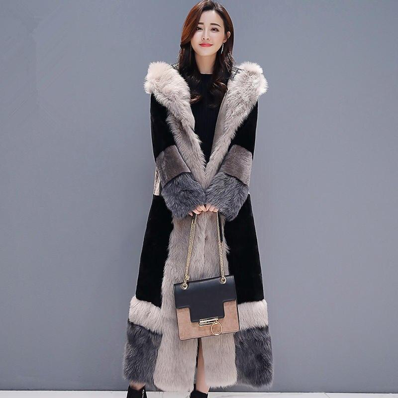 Зимняя куртка женская плюс бархатная теплая Толстая длинная шуба женская элегантная с длинным рукавом плюс размер зимняя куртка Женская Ст... - 4