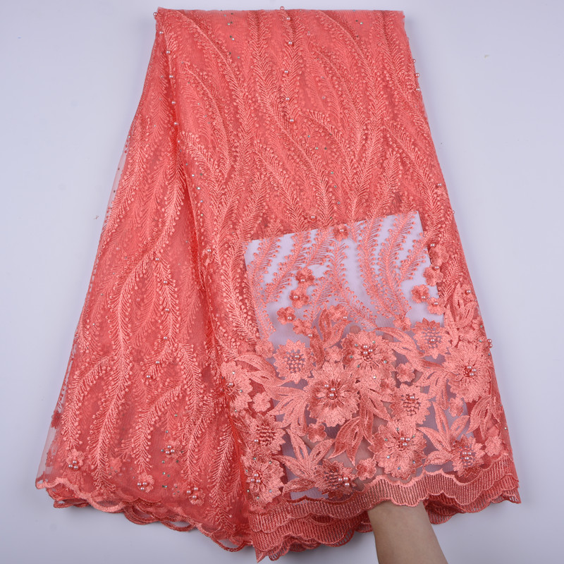 Nigeria Net Lace Fabric With Beads African French Tulle Lace High Quality Embroidery Mesh Lace Fabric