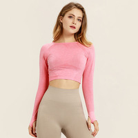 Pink Seamless Shirts for Women Vital Seamless Long Sleeve Crop Top Thumb Hole Fitted women long t shirt tees top