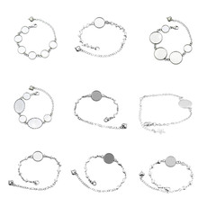 5pcs Stainless Steel Cabochon Bracelet Settings Cabochon 12mm 16mm 20mm Cameo Bracelets Bezel Base Blanks Diy Jewelry Finding high quality 12mm 14mm 16mm 18mm 20mm 316 stainless steel bangle base bracelet blank findings tray bezel setting cabochon cameo