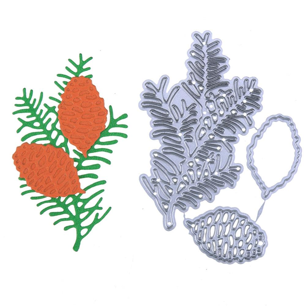 2018 New Pine Cone Leaves Fruit Metal Cutting Dies Embossing Stencil Scrapbooking Album Card Making Decoration DIY Craft