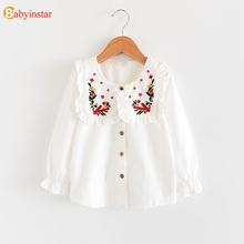 Babyinstar 2019 New White Blouse Floral Shirts For Teens Fashion School Soft Cotton Blouses Girls Autumn Kids Clothes