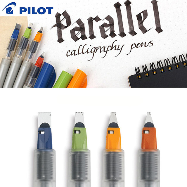 Pilot Parallel Calligraphy Pens Fountain Pen Set School Stationery Gothic Design Colored Art Pens With 12 Colors Ink Cartridges