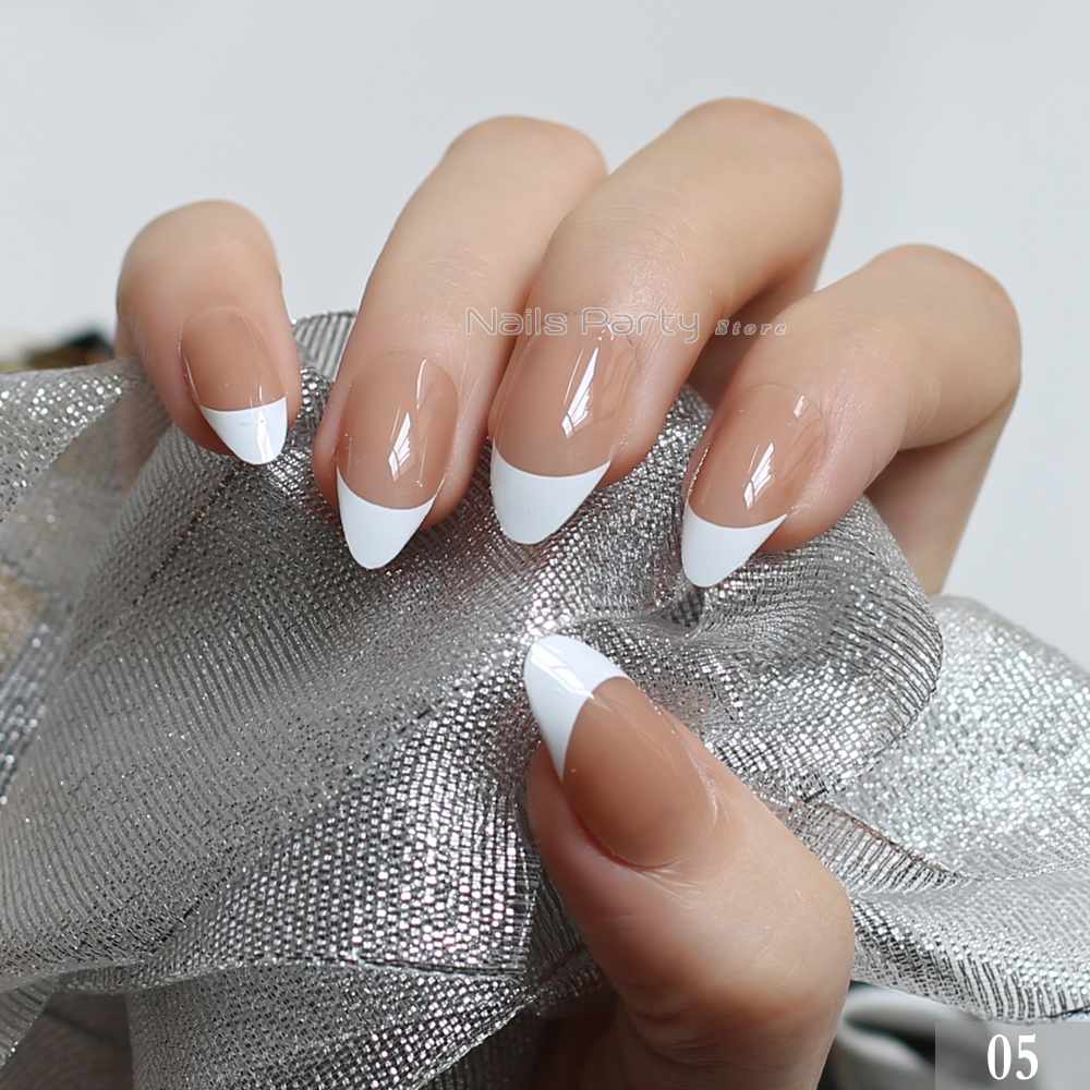 Chinese painting nail art - stiletto french nail design