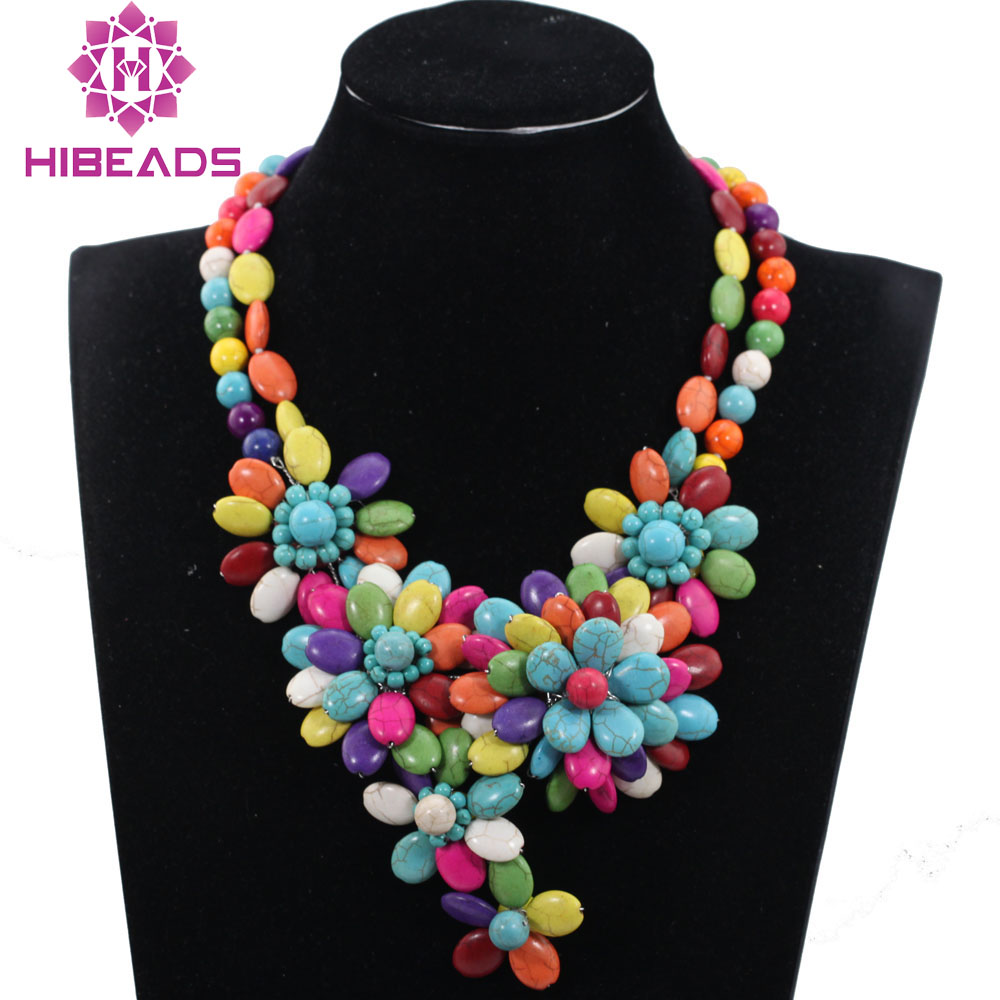 Romantic Chunky Flower Pendant Necklace Multicolor Turquiose Beaded African Wedding Necklace for Brides QW1121 цена 2017