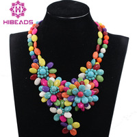 Romantic Chunky Flower Pendant Necklace Multicolor Turquiose Beaded African Wedding Necklace for Brides QW1121