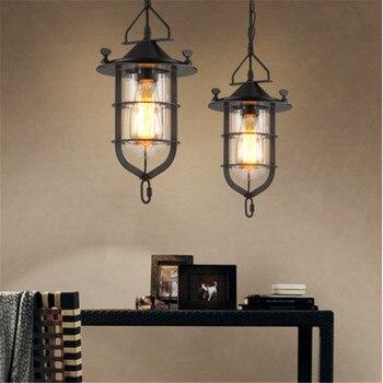 Amerikanischen Land Industrie Dock Kronleuchter Beleuchtung Cafe Kleidung Shop Gang Eisen Glas LED Hängen Lampe Leuchten