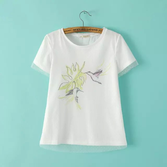 Summer New Europe Station Fashion Mesh Pattern Bird Printed Short Sleeve T Shirt Women Thin Young Joker T Shirt in T Shirts from Women 39 s Clothing