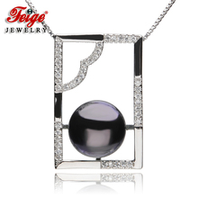 New arrival Womens 925 Silver Pearl Pendant Necklaces 8-9mm Black Freshwater Pearls Fine Jewelry