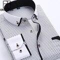 Big Size 4XL Camisa Dos Homens Vestido de 2016 Chegada Nova Manga Comprida Botão Slim Fit Para Baixo Gola Alta Qualidade Impressa Camisas de Negócios M014