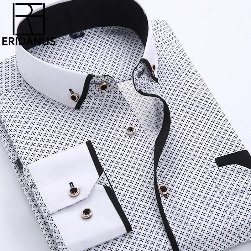 Stor størrelse 4XL mænds kjole skjorte 2016 Nyankom langærmet slim fit knap ned krave høj kvalitet trykte forretningsklær M014