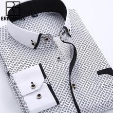 Большой Размеры 4XL Для мужчин платье рубашка 2016 новое поступление с длинным рукавом Slim Fit кнопка Пух воротник высокое качество печатных Бизнес Рубашки для мальчиков M014