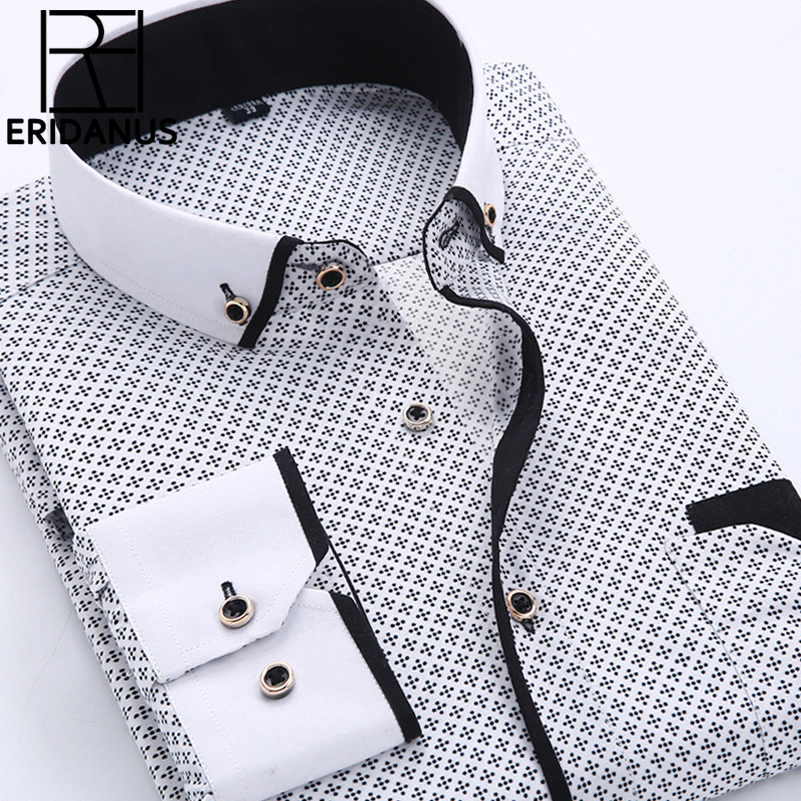 Big Size 4XL Men Dress Shirt 2016 New Arrival Long Sleeve Slim Fit Button Down Collar High Quality Printed Business Shirts M014