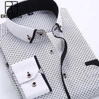 Große Größe 4XL Männer Kleid Hemd 2016 Neue Ankunft Langarm Slim Fit Taste Kragen Hohe Qualität Bedruckte Business-hemd-beiläufige M014