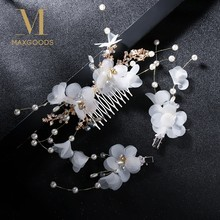 Charm White Immortal Crepe Flower Comb Barrette Sets Bride Headwear Bridal Wedding Hair Comb Hair Jewelry(China)
