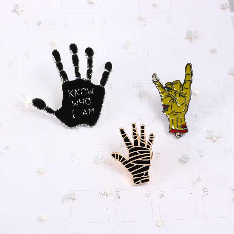 แฟชั่น Punk เคลือบ Pins 1PC เข็มกลัด Ghost Hand หินสีดำ Know Who I AM นิ้วมือ Denim กางเกงยีนส์ Lapel pin badge เครื่องประดับเครื่องประดับของขวัญ