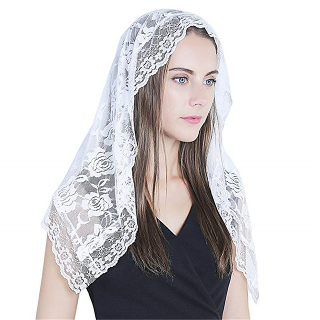 Black white Lace Veil Catholic Mantilla Veil for church Head Covering Latin Mass Bride Veil velo de novia 2019 voile dentelle