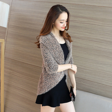 2017 Spring Autumn Female Cardigan Mujer Slim Turn-down Collar Leopard Cardigans Women Knitted Sweater Jumper Cardigan Feminino