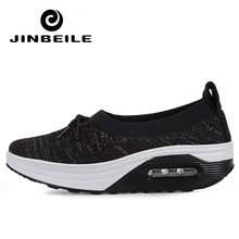 2019 Women Toning Shoes Fly Wire Breathable Platform Swing Air New Summer Slip On Ultra-light Female Lazy Slimming