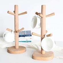 Bamboo Mug Rack Tree, Organic Bamboo Mug Holder, Mug Hook,Mug Stand,Coffee Cup Dryer with 6 Hooks