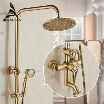 Shower Faucets Antique Bronze Wall Mounted Brass Rainfall Shower Sets Faucet Mixer Tap Cold and Hot Shower Set Crane 10135 - DISCOUNT ITEM  50% OFF All Category