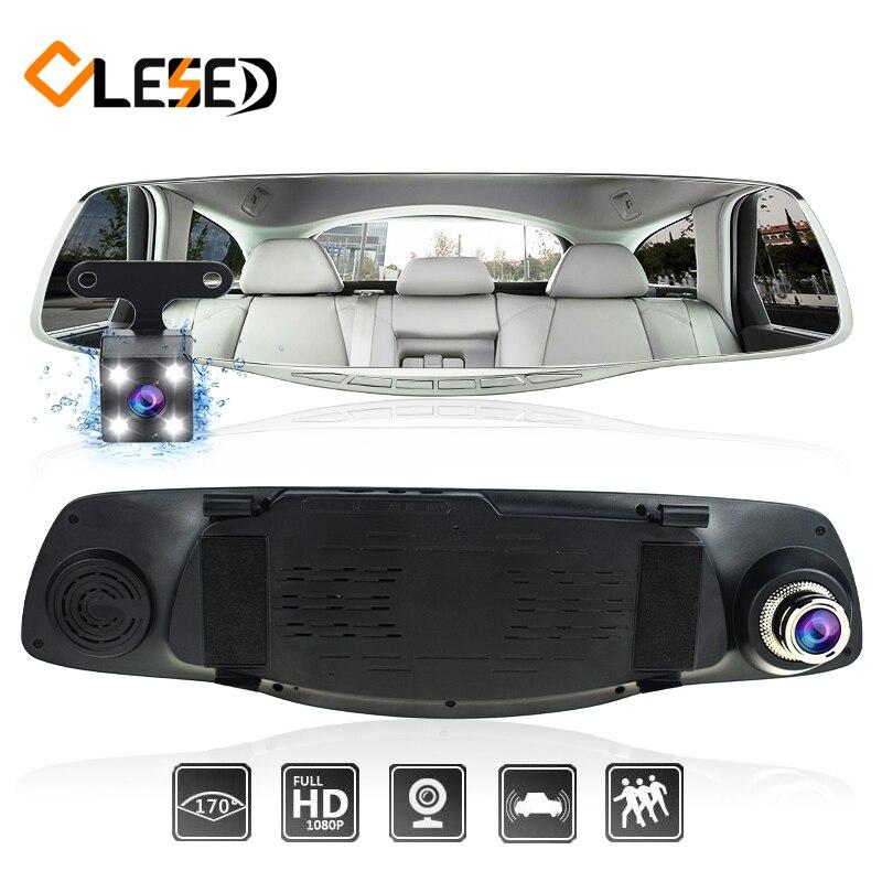 Car dash camma della macchina fotografica dvr dual lens specchio retrovisore auto dashcam registratore registrator Veicolo car video full hd anteriore e posteriore