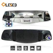 Rociada del coche de la Cámara dvr dual lente de espejo retrovisor de cámara grabadora registrador del coche del vehículo video full hd y parte trasera