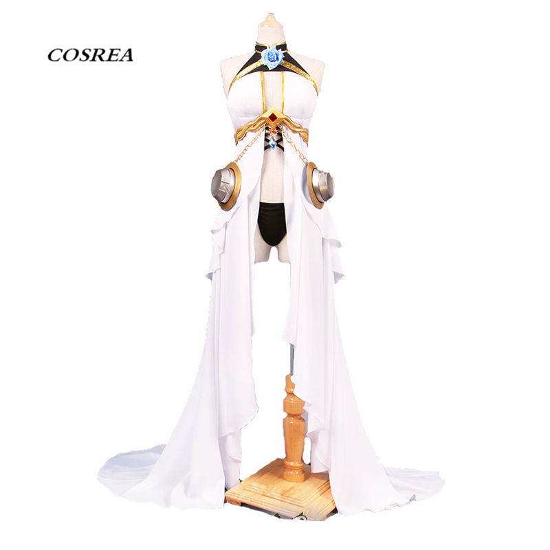 COSREA Hot Game Azur Lane Cosplay Costume High Quality Fancy White Sexy Long Dress Costumes Halloween Party For Girl Woman