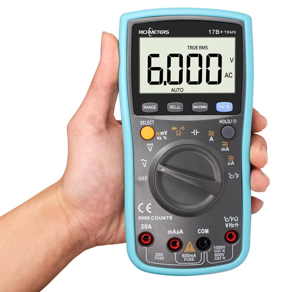 RICHMETES 17B + 6000 compte numérique multimètre DC tension ca compteur de courant résistance Diode testeur de Capaticance