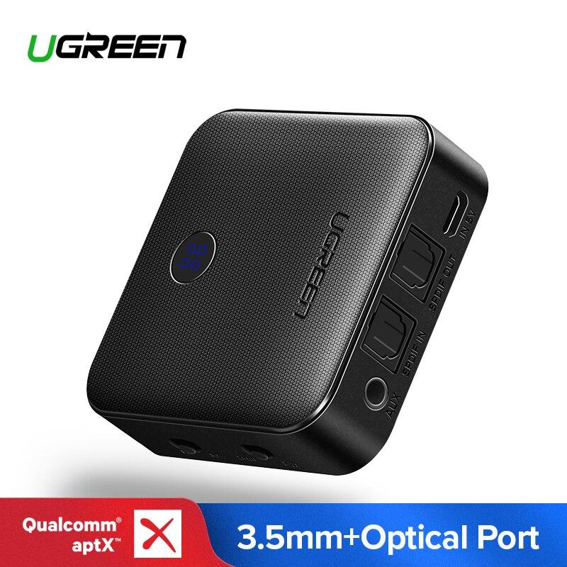"""Ugreen Bluetooth מקלט 4.2 aptX משדר עבור אוזניות אופטי 3.5 מ""""מ SPDIF Bluetooth אודיו מקלט מתאם לרכב טלוויזיה"""