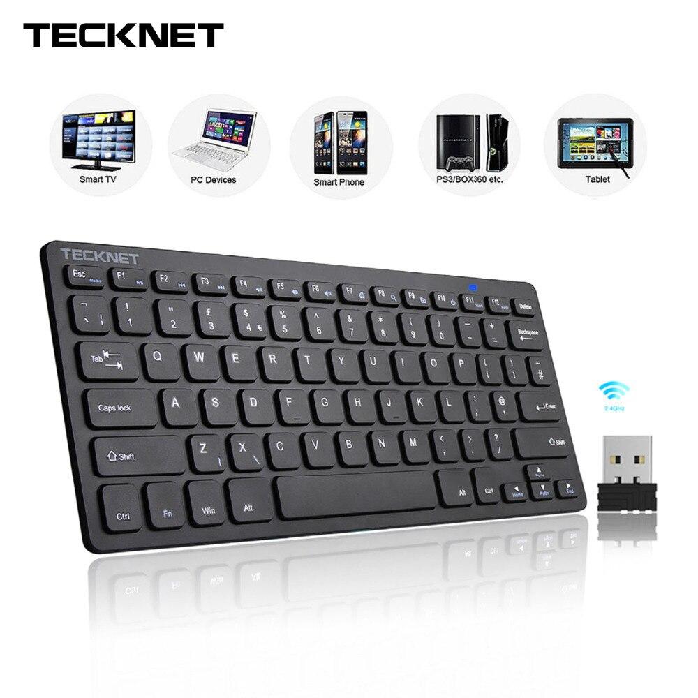 TeckNet 2,4 GHz Mini teclado inalámbrico para Windows Android Smart TV Reino Unido teclado de diseño silencioso con Nano receptor USB
