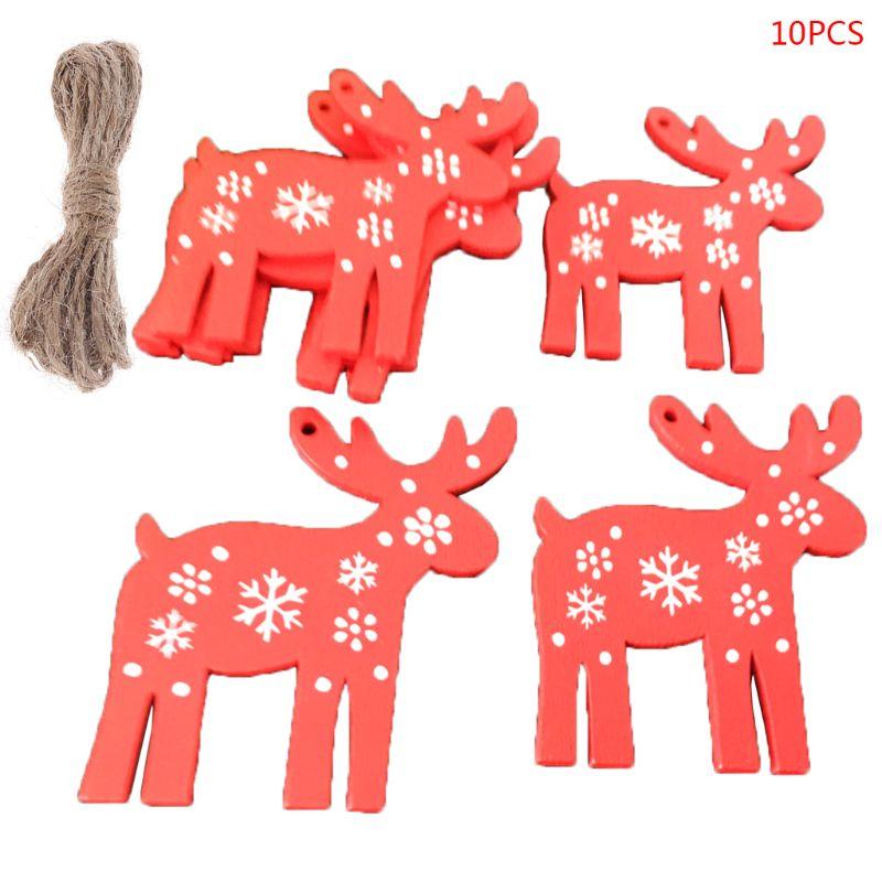 10pcs Wooden Christmas Tree Hanging Ornament Santa Bell Snowflake Angel Deer Tag