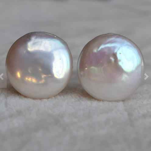 Perfect Pearl Jewelry,AAA 14MM White Color Coin Shape Real Freshwater Pearl Earrings,Huge Pearl Jewelry,Wedding Earring.