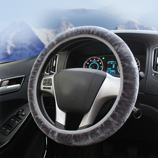 New plush telescopic steering wheel cover car universal handle winter thick elastic elastic no rubber ring steering covers