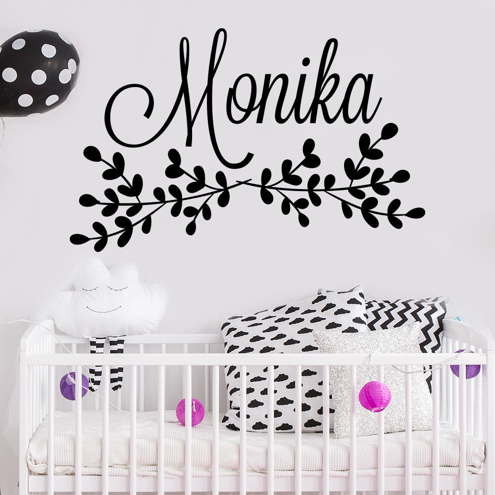 Nursery Room Decor Custom Girl Name Wall Sticker Rustic Art Mural Baby Decal Kids Poster AY1188