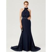 TS Couture Vỏ Bọc/Column Cao Neck Tòa Train Voan Evening Formal Dress với Beading Bow (s) Sash/Ribbon Nếp Gấp