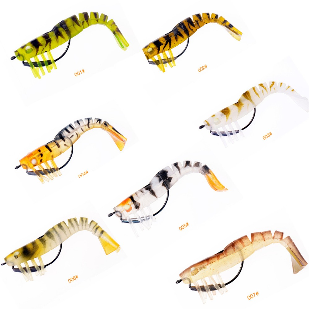 New Fishing Lures  Bionic Artificial Shrimp Lures Pesca Soft Bait with Hook  Fishing Tackle 89mm 7.5g стоимость