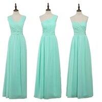 JC STAR2017 Long Cheap Mint Green Bridesmaid Dresses Under 50 Floor Length Chiffon A Line Vestido