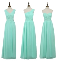 JC STAR2017 Long Cheap Mint Green Bridesmaid Dresses Under 50 Floor Length Chiffon A Line Vestido