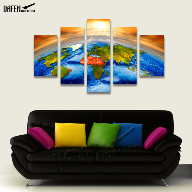 Canvas Art Sun Outer Space Earth World Map Piece Painting - World map from outer space