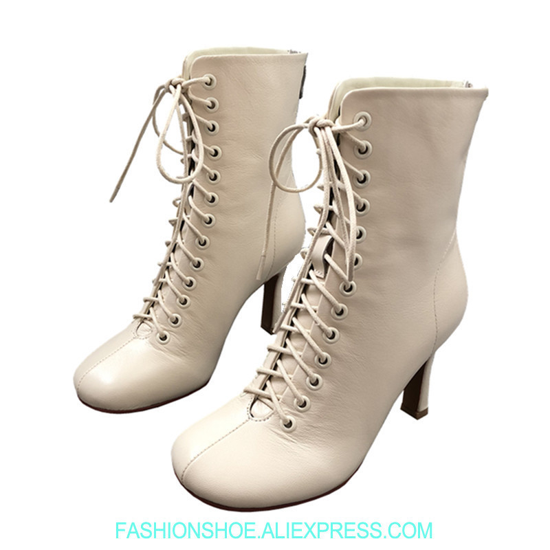 Fashion Beige Brown Black Leather Boots Lace Up Squared Toe Women Ankle Boots High Heels Stiletto Catwalk Party Ladies Booties crocodile leather women stiletto high heels peep toe sandal boots lace up white black leather thin heels ankle booties shoes