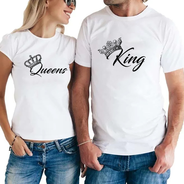 e860dd986a9e PSTYLE King Queen Couples T Shirt Crown Printing Couple Clothes Summer  T-shirt 2018 Casual O-neck Tops Lovers Tee Shirt