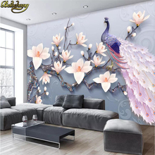 beibehang Custom Embossed magnolia peacock Landscape 3D Wall paper roll Mural Wallpaper for Living Room Sofa Bedroom TV Backdrop 0 53 10 roll colorful brick wallpaper tv sofa backdrop mediterranean wall paper for bedroom living room home decoration