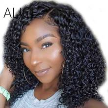 ALICE 130% 4x4 Silk Base Wig Pre Plucked Silk Top Lace Front Human Hair Wigs For Women Remy Brazilian Curly Wig With Baby Hair(China)